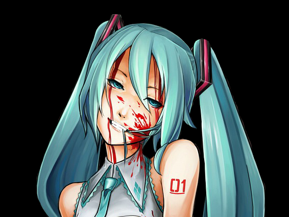 Miku blood render by blackshiki