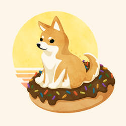 Flying Saucer Donut Doge by Yudine