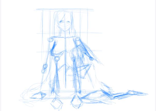 Drawing 2 - Commission sketch for KyraWriter by SolarLunix