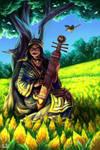 Ainu Woman with Wagtails