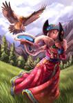 Ladakh Woman with Dangerous Vulture
