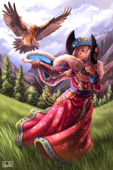 Ladakh Woman with Dangerous Vulture