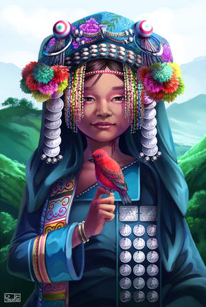 Akha Woman with Scarlet Finch by Yseulta