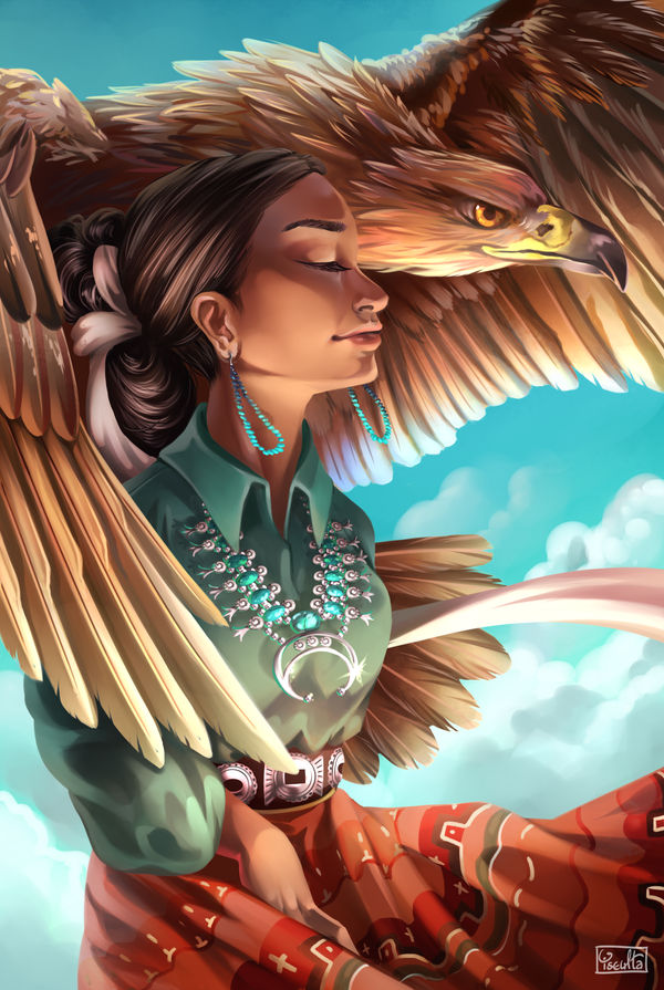 Navajo Woman with Golden Eagle by Yseulta