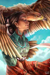 Navajo Woman with Golden Eagle