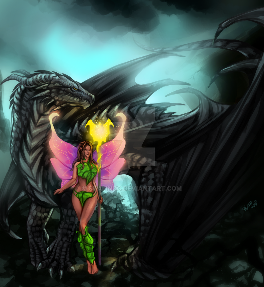 Josara The Fairy and Kaylor The Black Dragon by StalinDC