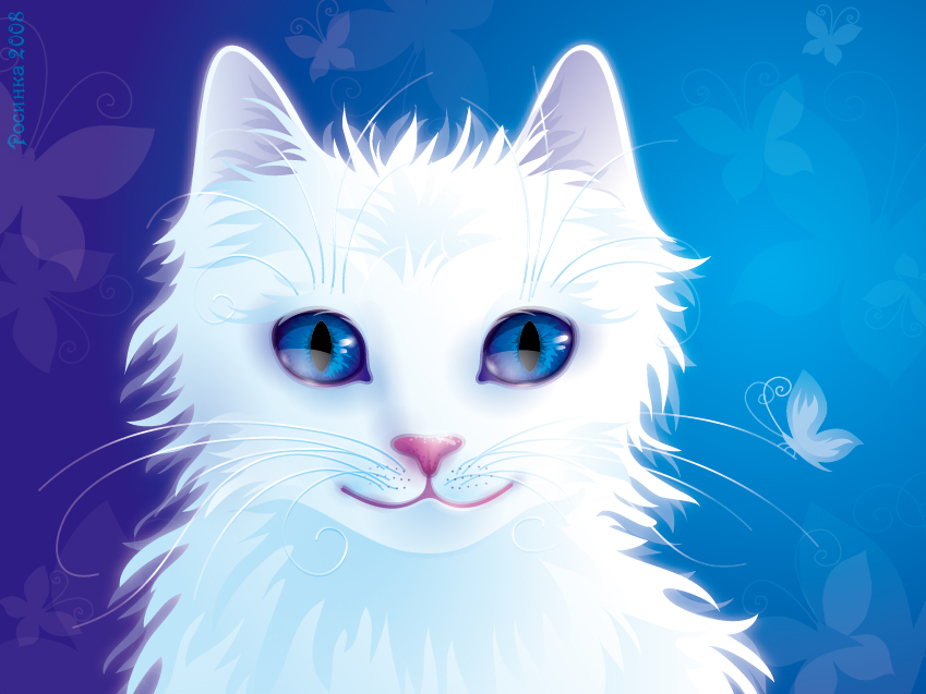 Blue And White Anime Cat
