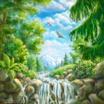 Landscape with small waterfall