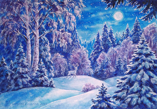 Winter moonlight forest with a deer