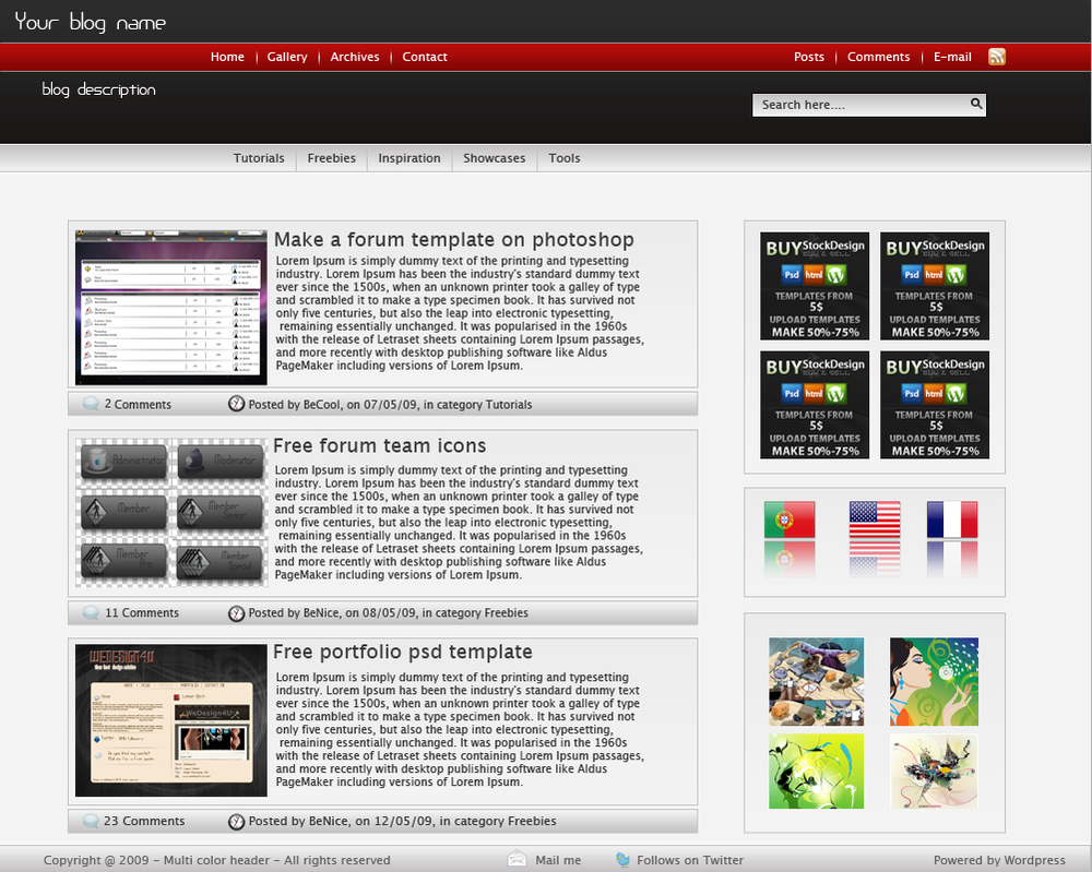 Multi Header Color Wordpress T by alexandreperei