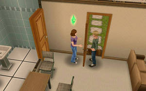 two sims.....talking through a door. by SilverNeko1