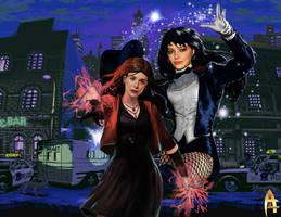 Crossover Zatanna Zatara and Scarlet Witch by Aelryk