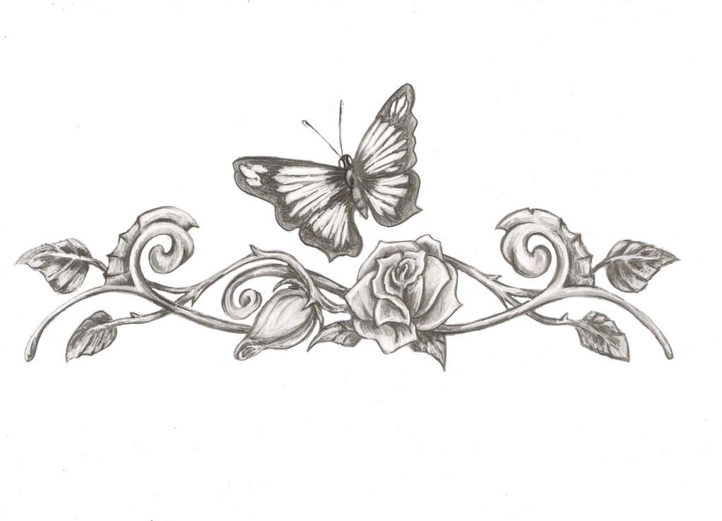butterfly eith rose tattoo design by saramira on deviantart. Black Bedroom Furniture Sets. Home Design Ideas