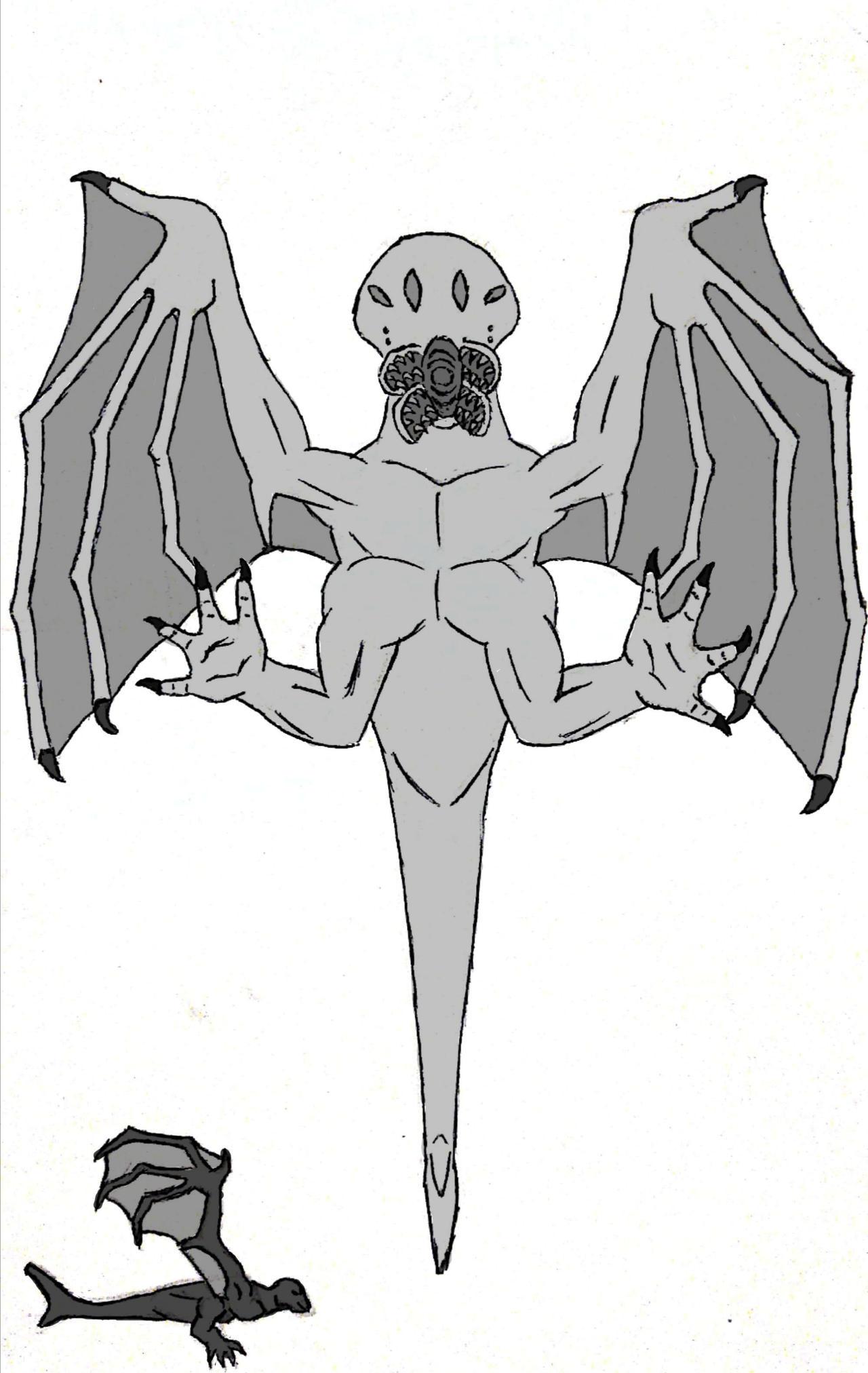 Criatura voladora_blanco y negro