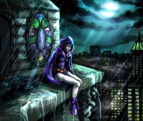 Raven in Gotham City by silvanoir