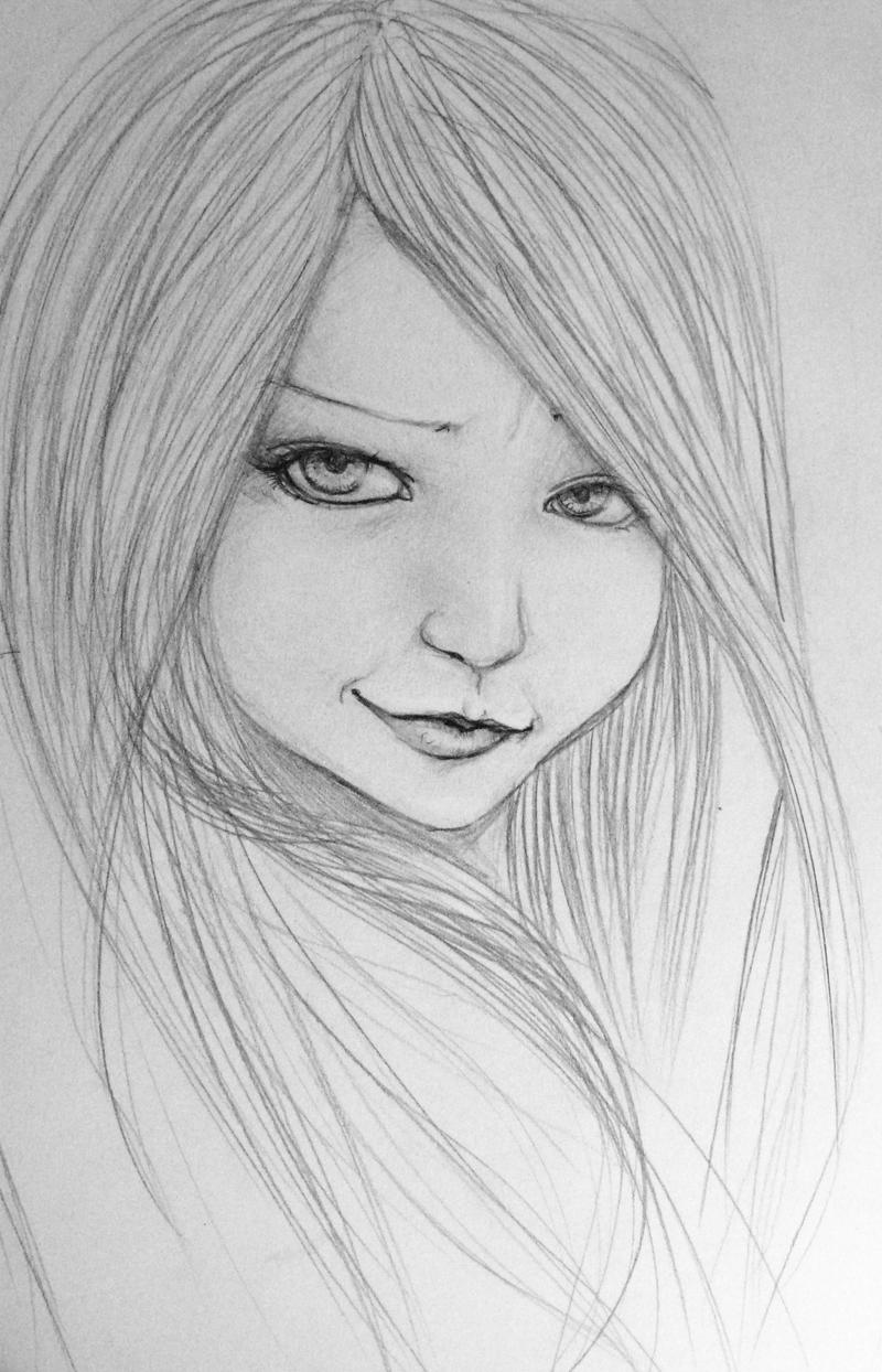 Pencil drawing of a girl i used a photo reference but i drew her in a more cartoonish way