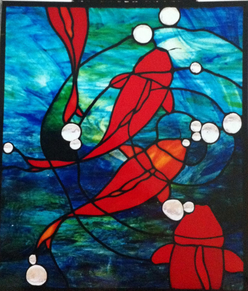 Koi fish glass by peopleandsuch on deviantart for Stained glass fish