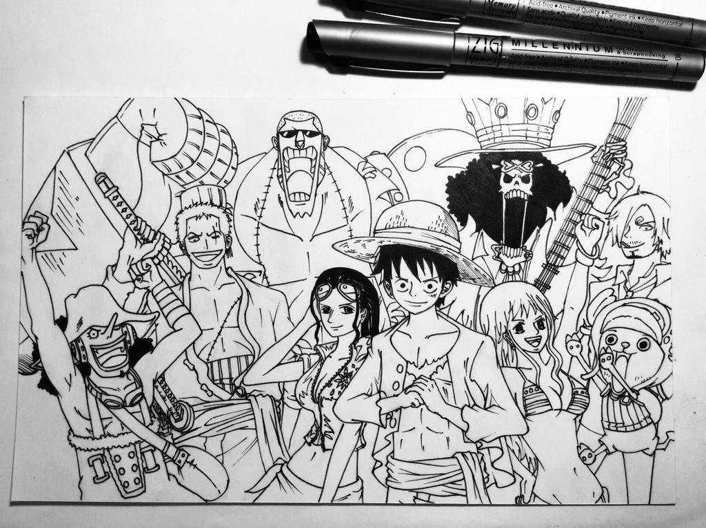 One Piece Lineart : One piece strawhat pirates by janiceeart on deviantart