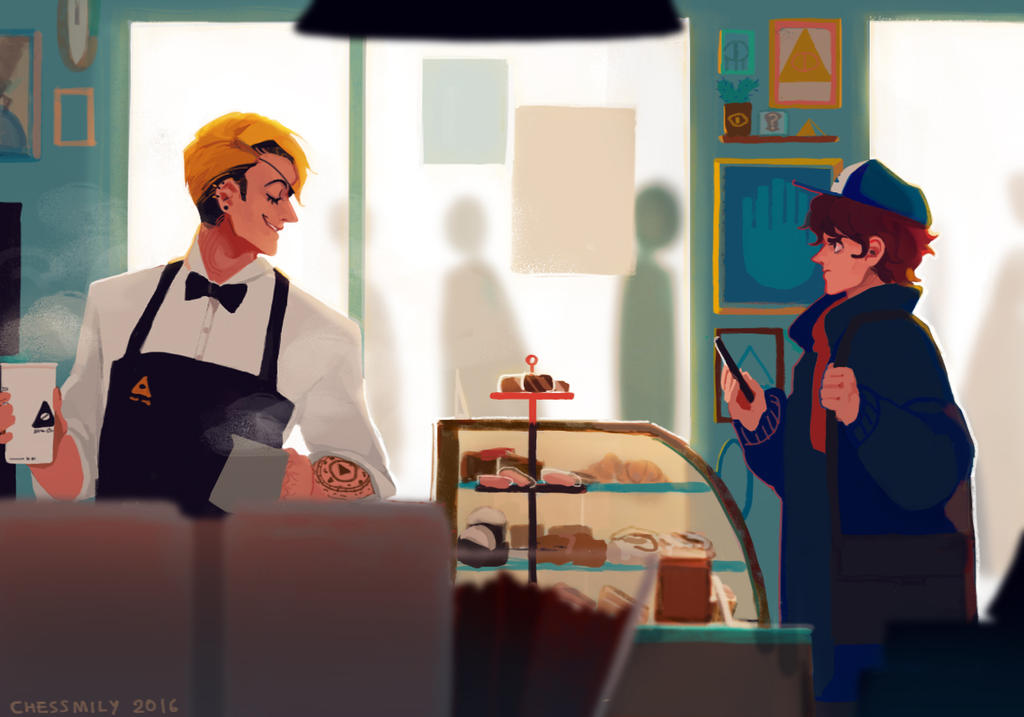 [BillDip] Coffee shop AU by CHESSMILY