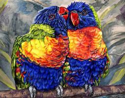 Rainbow Lorikeets by Novawuff