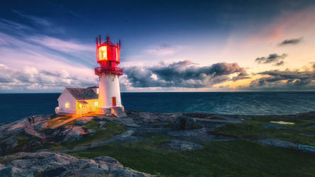 Blue hour lindesnes lighthouse