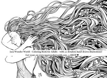 The Fish in Her Hair - Coloring Book Illustration by Yasuli