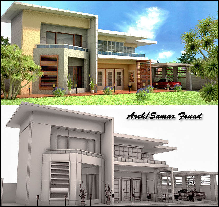 3d exterior of my 3ds max work by samarfouad on deviantart for 3d home exterior design tool download