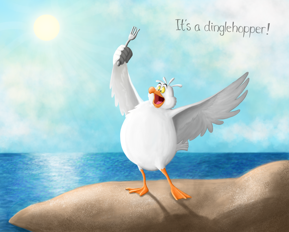 Scuttle and his dinglehopper by LotsOfLowe on DeviantArt