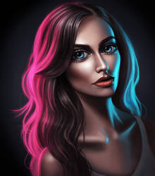 colorful lights portrait