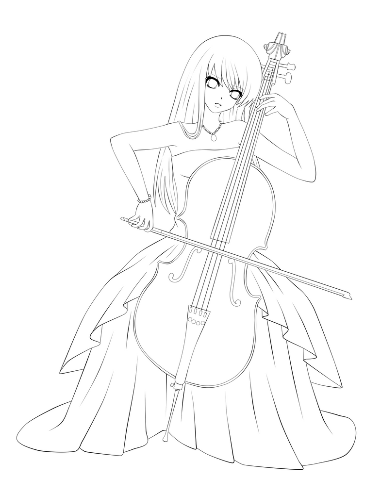 How to draw playing cello for Cello coloring page