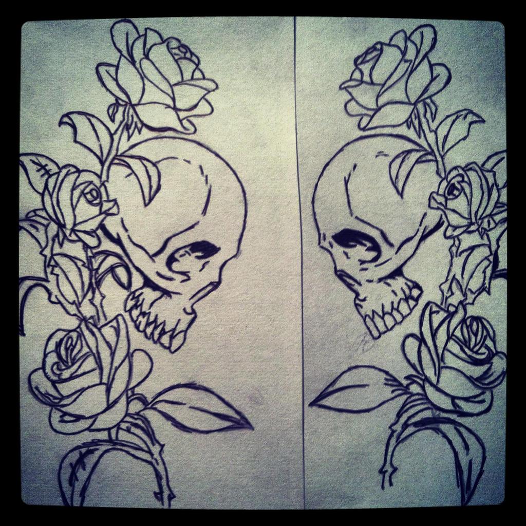 Pen Sketch Skull and Rose Vine by WhiteRosesBleedRed on ...