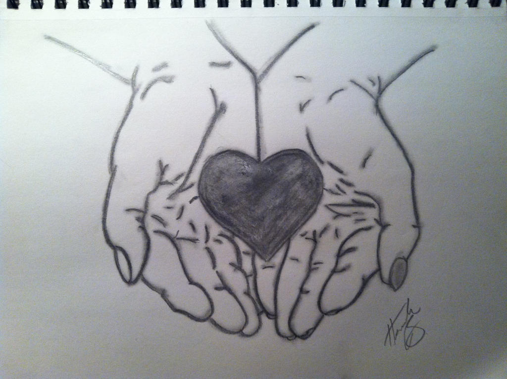 Hand Holding Rose Drawing Hand Holding Heart Drawing