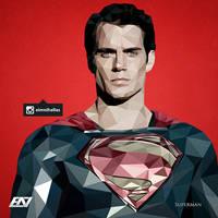 Low Polygon Portrait - Superman