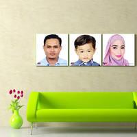 Low Polygon Portrait - Family Canvas Frame