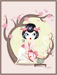 Geisha Pin up by OoAngeliusoO