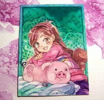 ACEO - Mabel and Waddles by KylriaArt