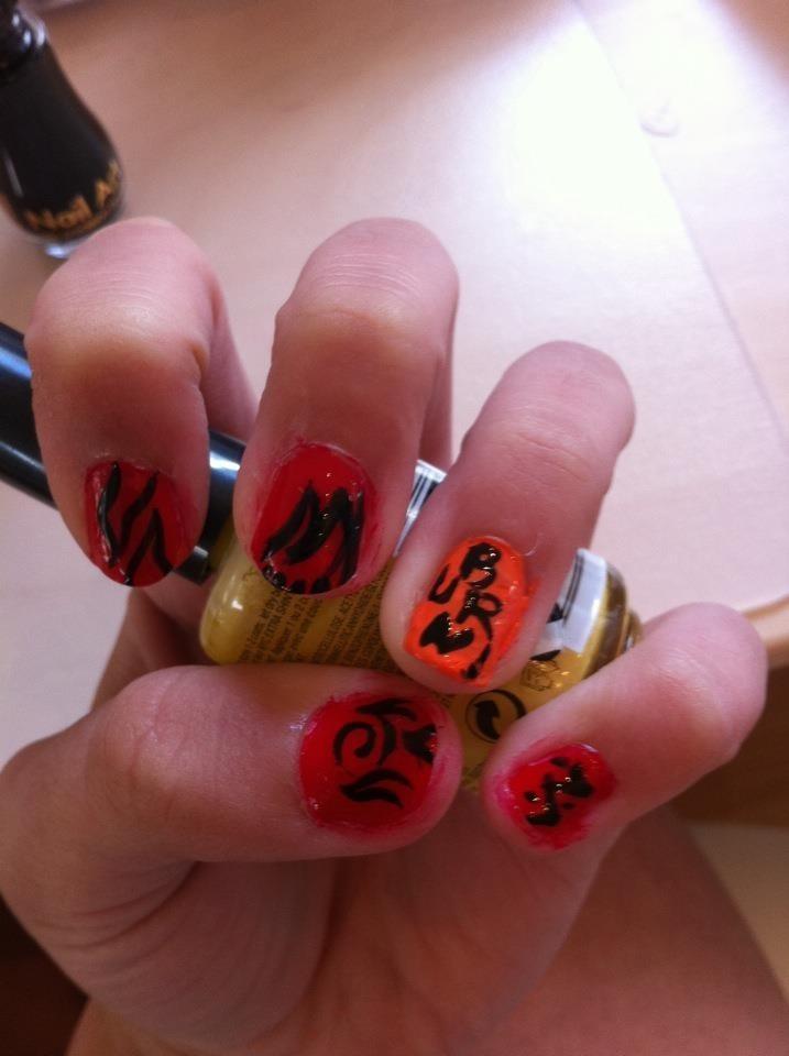 *Burn It Down* nail art by ItsAGhostStory