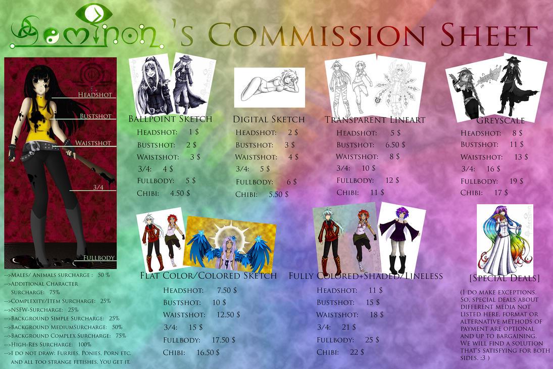 Seminon's Commission Sheet by Seminon