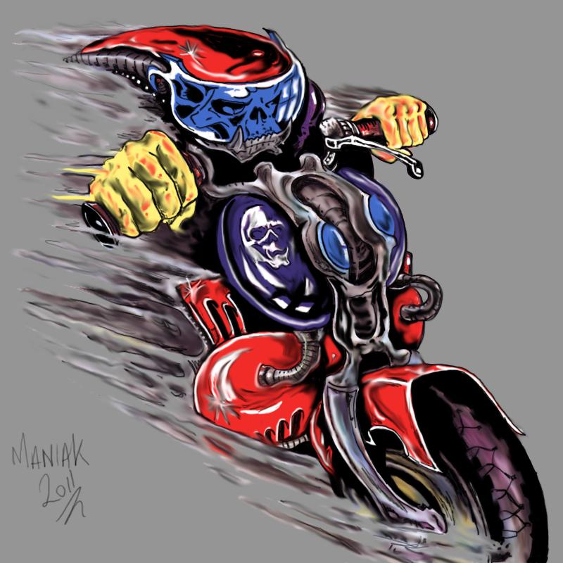 Maniak Portfolio Skull_rider_coloured_by_maniakuk-d39x4bz