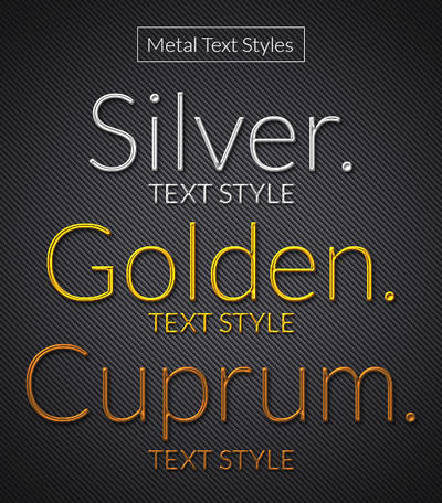 Metallic Silver, Golden and Copper Text Style by khatrijiya