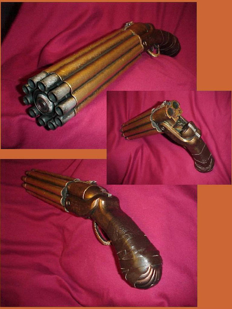 Steampunk Gatling Hand Cannon by Pirkleations