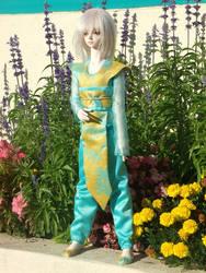 blueyellow asian dragon outfit