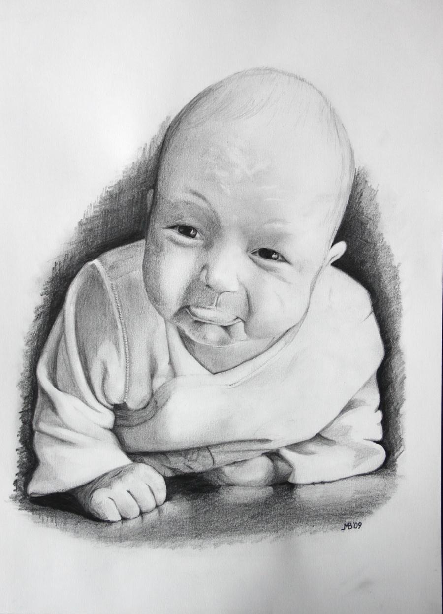 drawing little baby gi...