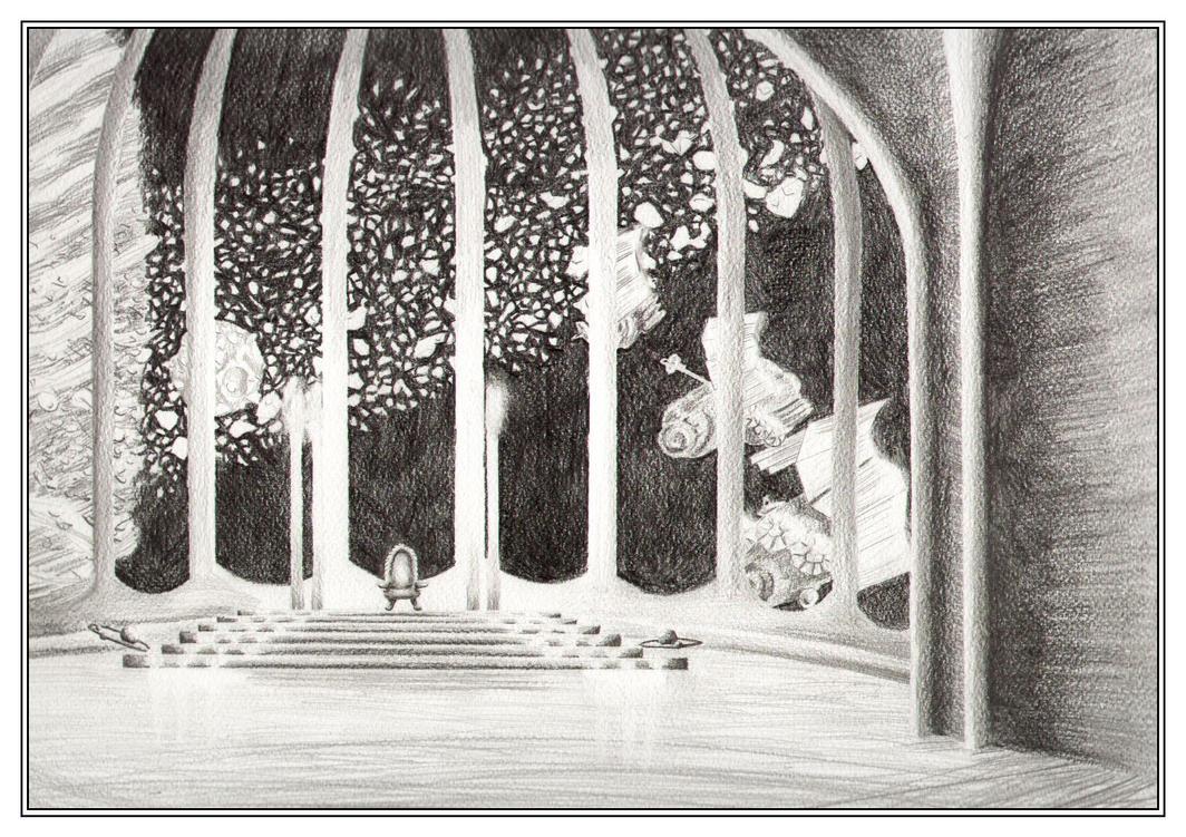 A throne room in a spaceship by Akaszik