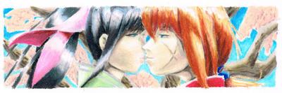 Kenshin and Kaoru - bookmark by Akaszik