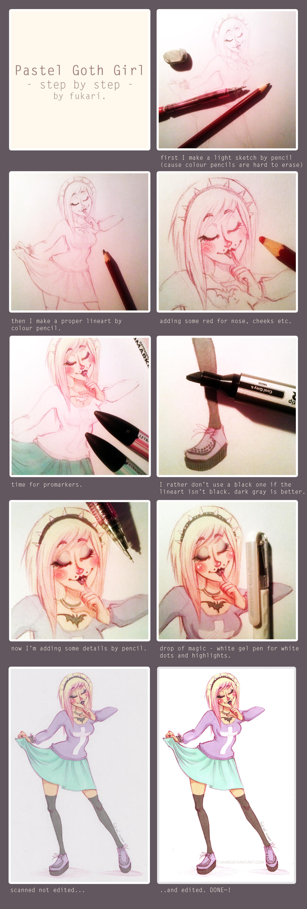 pastel goth girl - step by step by Fukari