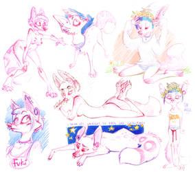 furry doodles by Fukari
