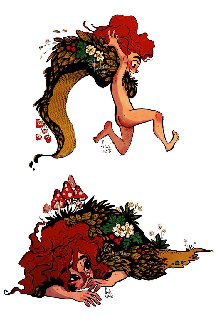 forest girl doodles by Fukari