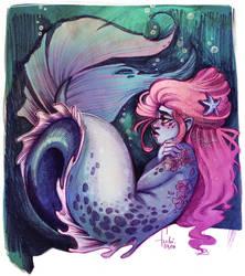 blue mermaid - draiwng timelapse