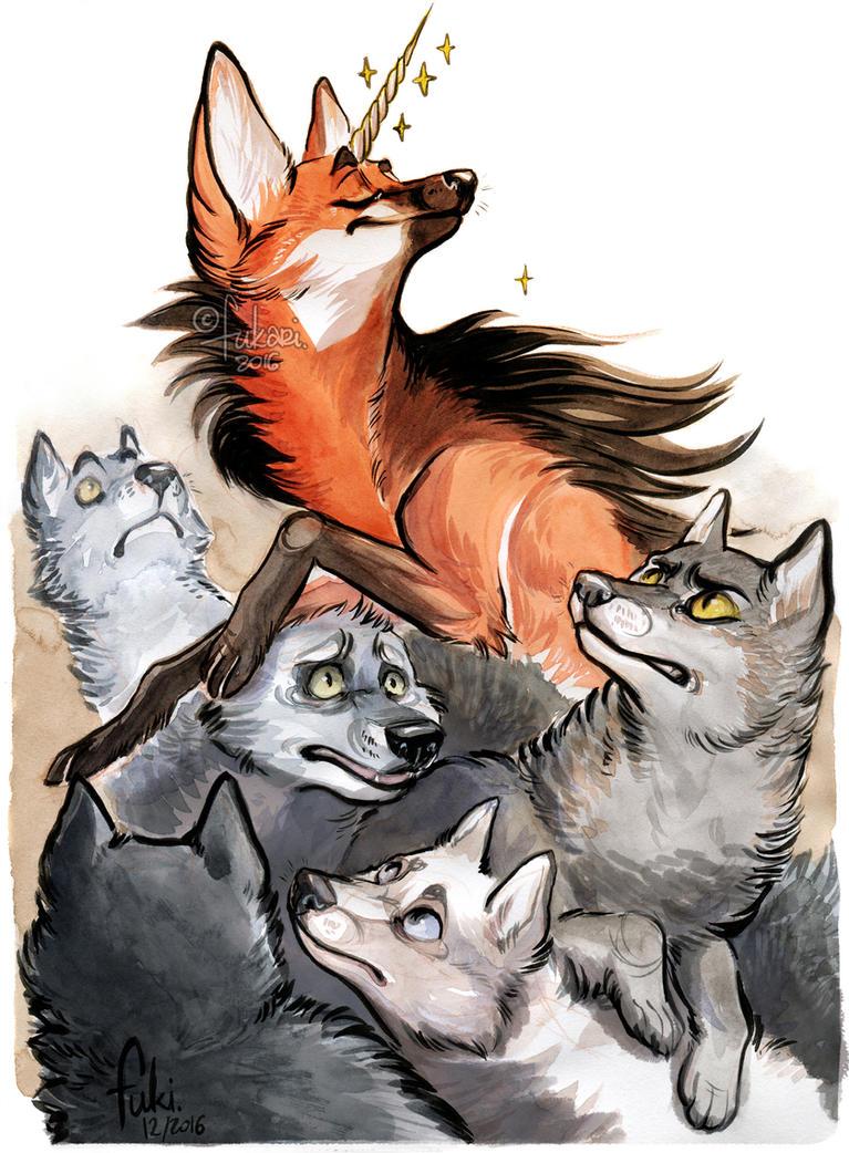 unicorn among wolves by Fukari